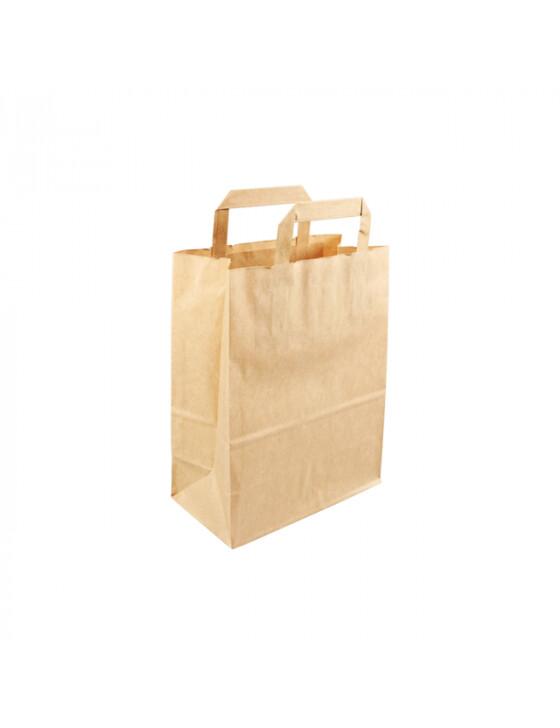 Kraft papieren draagtas 22x10x28cm bruin Verpakt per 500 stuks