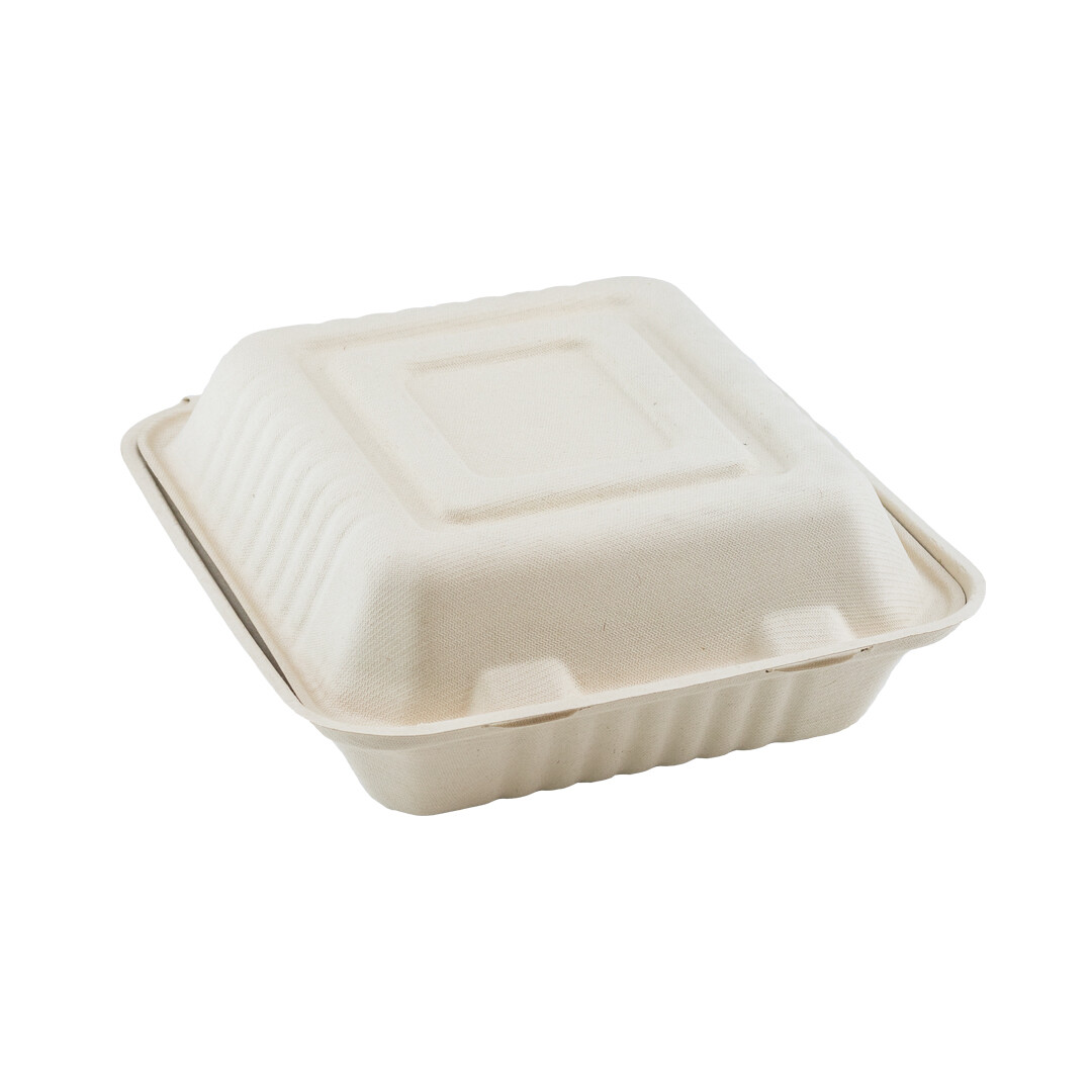 Bagasse 3-vaks menubox XL 235x195x75mm Verpakt per 125 stuks