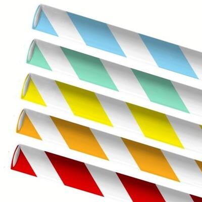 Premium papieren rietjes 8x240mm 5 kleuren Swirlmix, verpakt per 250 stuks