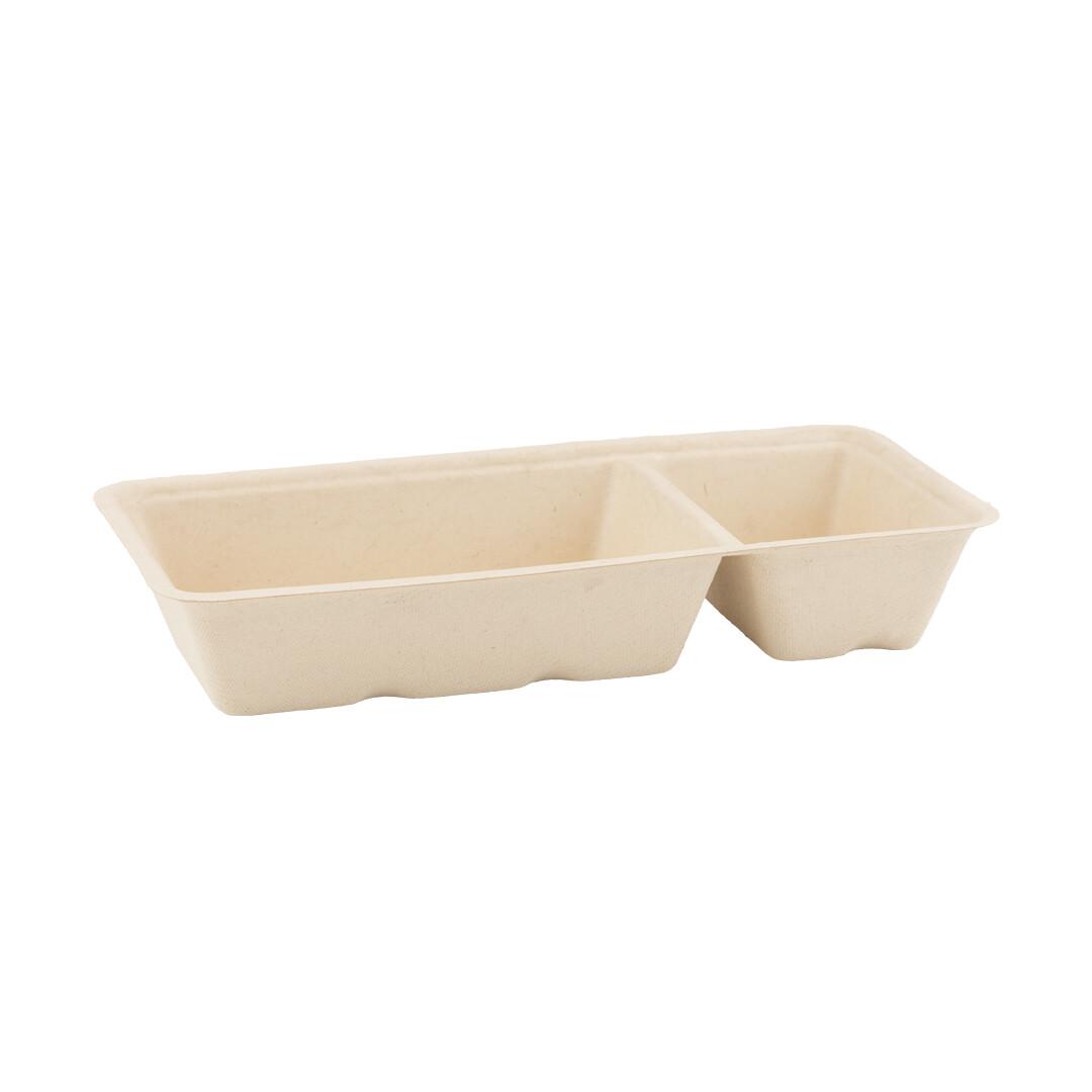 Bagasse snackbakje A20 bruin (A14+1), verpakt per 600 stuks