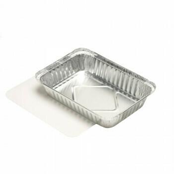 Aluminium maaltijdbak + ingelegd deksel, PE-gecoat 800ml, verpakt per 45 stuks