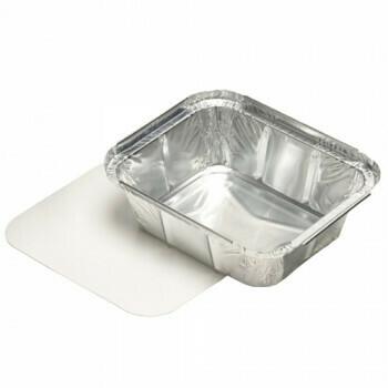 Aluminium maaltijdbak + ingelegd deksel, PE-gecoat 500ml, verpakt per 100 stuks