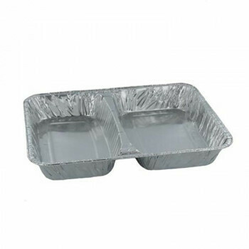 2-vaks Menuschaal laag (2-vaks), Aluminium | 22,7x17,8x3cm, verpakt per 1000 stuks