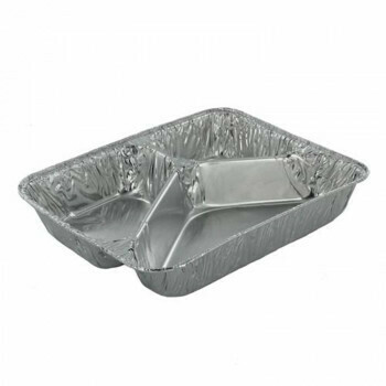 3-vaks Menuschaal hoog, Aluminium | 22,7x17,8x3,9cm, verpakt per 500 stuks