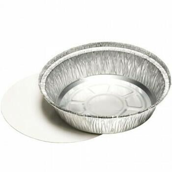 Schalen, aluminium + ingelegd deksel, PE-gecoat rond 1000 ml Ø 23 cm · 4,4 cm, verpakt per 250 stuks