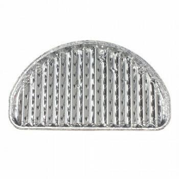 Aluminium grillschalen 2 cm x 32,5 cm x 19 cm halfrond, verpakt per 60 stuks