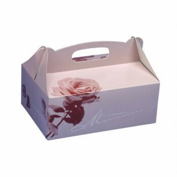 Gebakdozen 26 cm x 22 cm x 9 cm rosé met handvatten, verpakt per 150 stuks