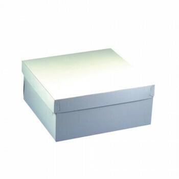Cake dozen, met deksel, 30 cm x 30 cm x 13 cm wit, verpakt per 50 stuks