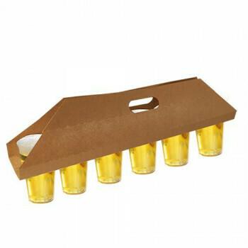 Draagtray, karton 12 cm x 9,5 cm x 62 cm bruin voor 6 bekers, verpakt per 150 stuks