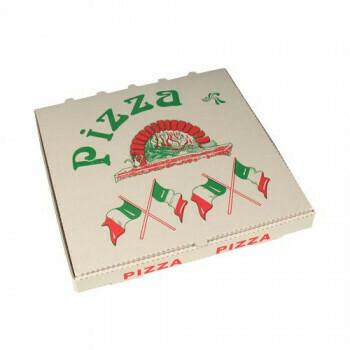 Pizzadozen, Cellulose plein 33 cm x 33 cm x 4 cm 'Italiaanse vlag', verpakt per 50 stuks