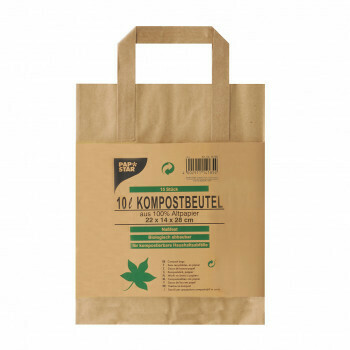 Compost bags with paper handle 10 l 28 cm x 22 cm x 14 cm brown 'printed', packed per 300 pieces