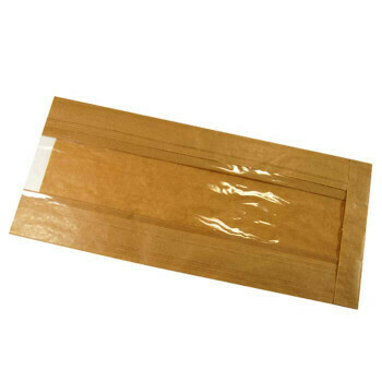 Broodzakken (met venster), Bruin Papier   16/5x36cm, verpakt per 1000 stuks
