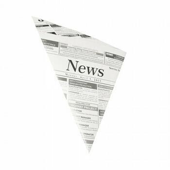 Puntzakken met krantenprint, perkament vetvrij papier | 27x19x19 cm, verpakt per 1000 stuks