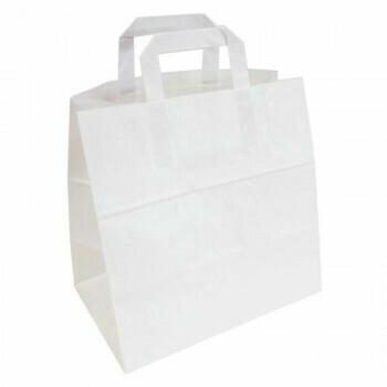 Draagtassen, Wit Papier | 26+17x26cm, verpakt per 400 stuks