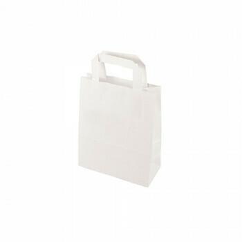 Draagtassen, papier 22 cm x 18 cm x 10 cm wit met handvatten, verpakt per 400 stuks