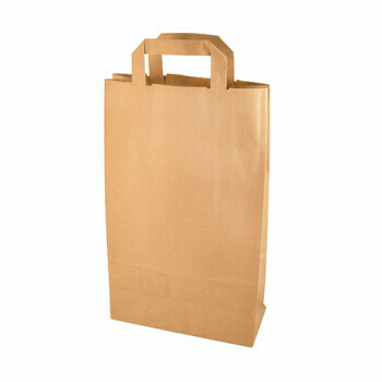 Draagtassen, papier 36 cm x 22 cm x 10 cm bruin met handvatten, verpakt per 400 stuks