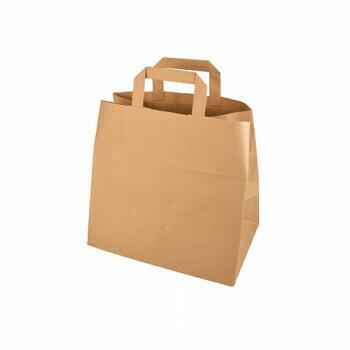 Draagtassen, papier 25 cm x 26 cm x 17 cm bruin met handvatten, verpakt per 400 stuks