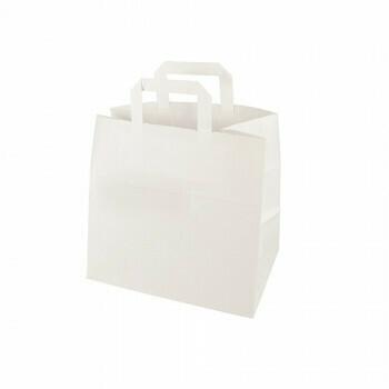 Draagtassen, papier 25 cm x 26 cm x 17 cm wit met handvatten, verpakt per 400 stuks