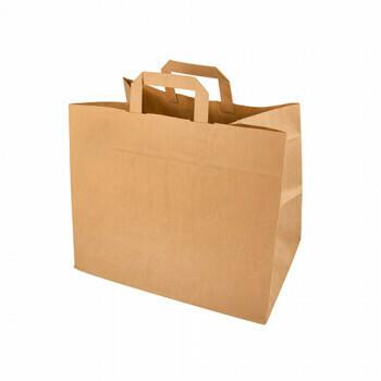 Draagtassen, papier 27 cm x 32 cm x 17 cm bruin met handvatten, verpakt per 400 stuks