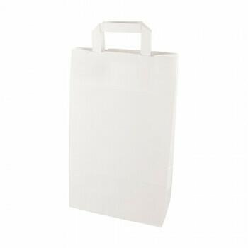 Draagtassen, papier 36 cm x 22 cm x 10 cm wit met handvatten, verpakt per 400 stuks
