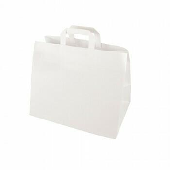 Draagtassen, papier 27 cm x 32 cm x 17 cm wit met handvatten, verpakt per 400 stuks