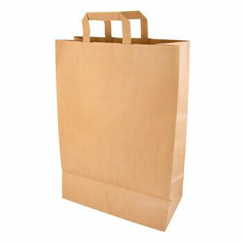 Draagtassen, papier 44 cm x 32 cm x 17 cm bruin met handvatten, verpakt per 200 stuks