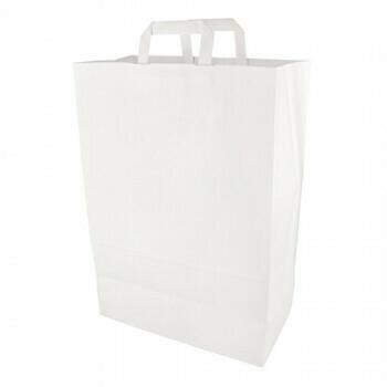 Draagtassen, papier 44 cm x 32 cm x 17 cm wit met handvatten, verpakt per 200 stuks