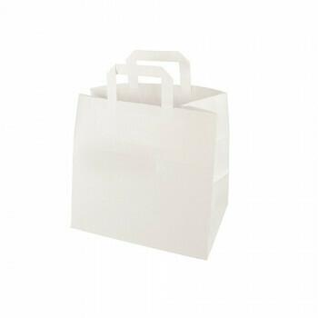 Draagtassen, papier 25 cm x 26 cm x 17 cm wit met handvatten, verpakt per 250 stuks