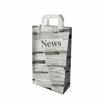 Draagtassen met krantenprint, voorzien van handvatten | 36x22x10 cm, verpakt per 400 stuks