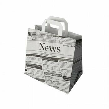 Draagtassen, papier 25 cm x 26 cm x 17 cm 'Newsprint' met handvatten, verpakt per 400 stuks