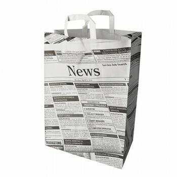 Draagtassen met krantenprint, voorzien van handvatten | 44x32x17 cm, verpakt per 200 stuks