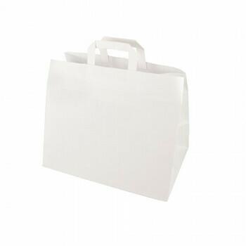 Draagtassen, papier 27 cm x 32 cm x 21,5 cm wit met handvatten, verpakt per 400 stuks