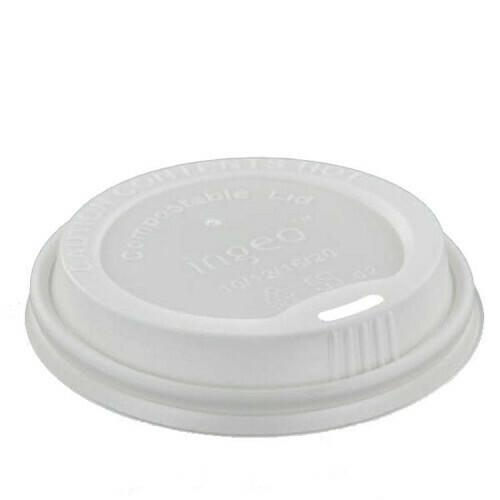 Deksel, C-PLA 'pure' rond Ø 8 cm wit, verpakt per 1000 stuks