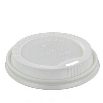 Deksel, C-PLA 'pure' rond Ø 9 cm wit, verpakt per 1000 stuks