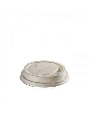 CPLA deksel wit 62mm Ø voor 1dl/4oz beker, verpakt per 1000 stuks