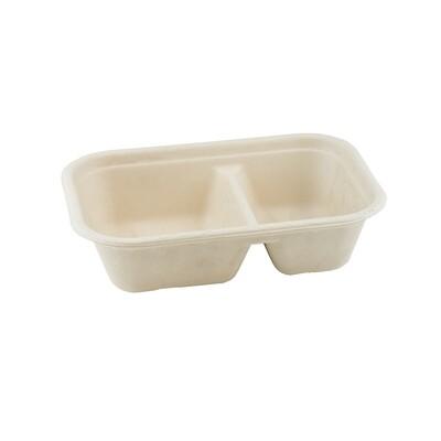 Bagasse maaltijdbak bruin 1000ml/22,9x15,3x5cm 2-vaks, verpakt per 125 stuks