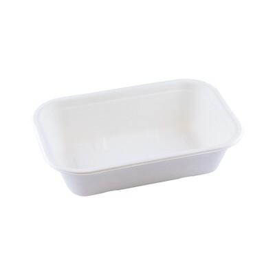 Bagasse maaltijdbak wit 1000ml/229x153x57mm Verpakt per 125 stuks