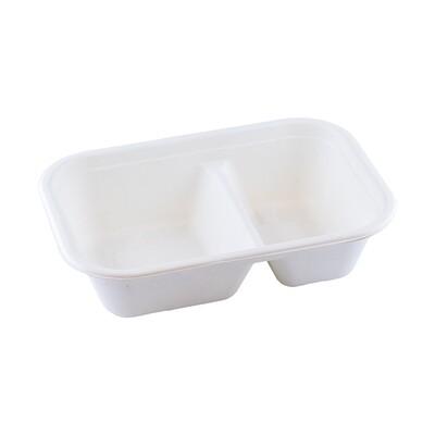 Bagasse maaltijdbak wit 1000ml/229x153x61mm 2-vaks, verpakt per 250 stuks