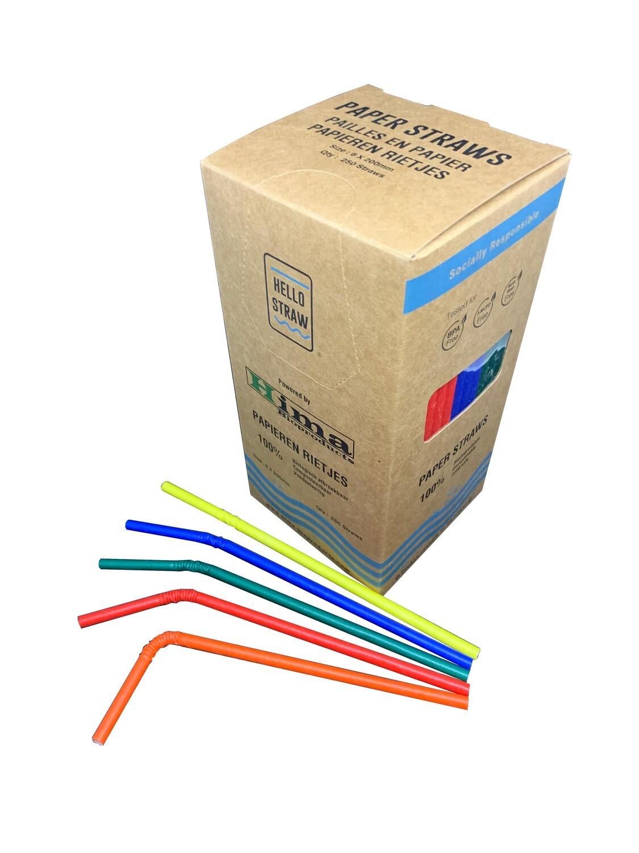 Premium papieren buigrietjes 6x200mm 5 kleurenmix, verpakt per 250 stuks