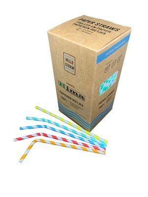Premium papirbøjningstrå 6x200mm 5 farver Swirl mix, pakket pr. 250 stk