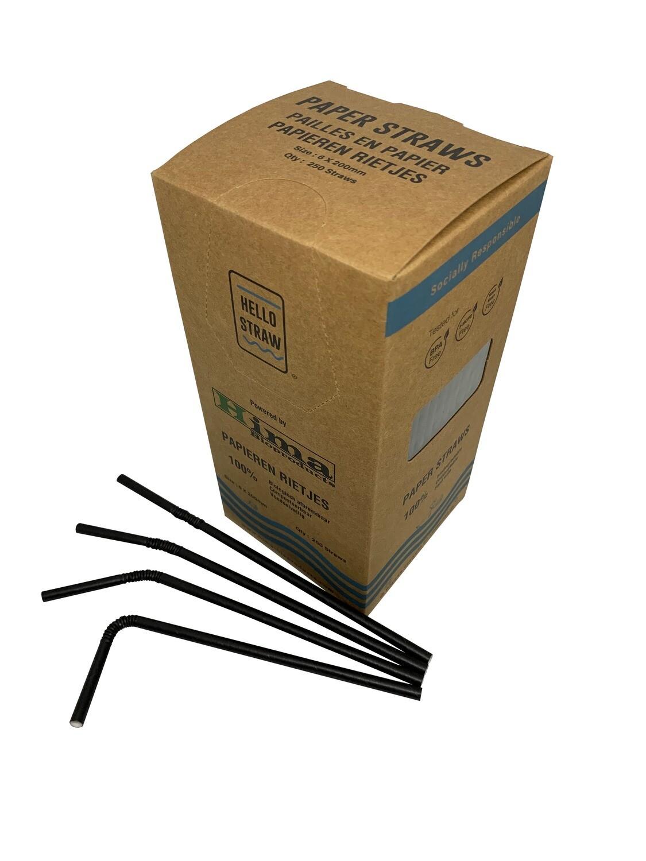 Premium papieren buigrietjes 6x200mm zwart , verpakt per 250 stuks