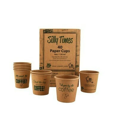 Koffiebeker (Silly Times) karton | 118ml/4oz, verpakt per 40 stuks in displaydoos.