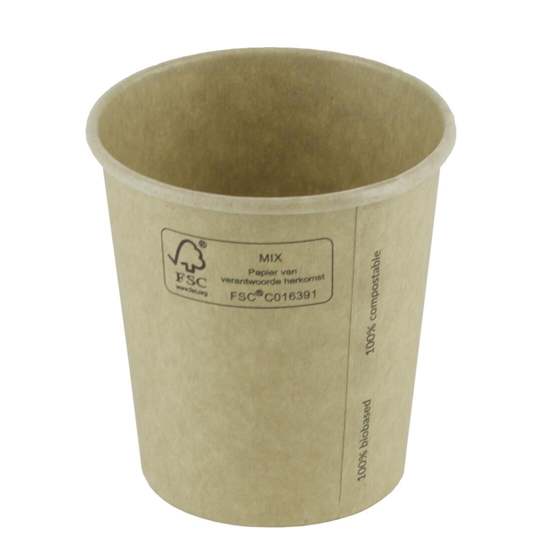 Milkshakebeker bamboepapier/PLA 12oz/360ml Ø 90mm, verpakt per 1000 stuks