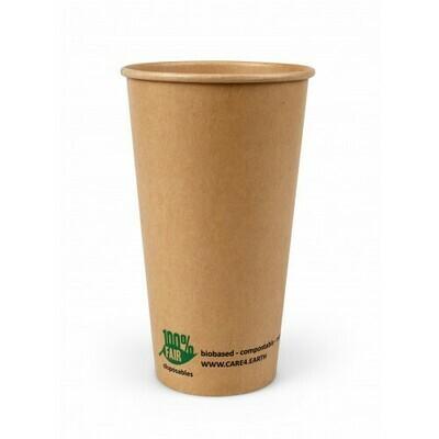 Milkshakebeker van bruin karton (100% FAIR) | 16oz/480ml Ø 90mm, verpakt per 500 stuks