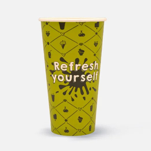 "Milkshakebeker 20oz/600ml Ø 90mm, ""Refresh yourself"", verpakt per 1000 stuks"