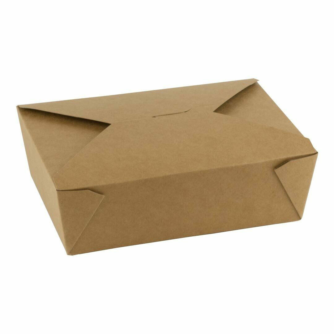 FSC® kraft/PLA take away box 1800ml/197x140x65mm, verpakt per 200 stuks