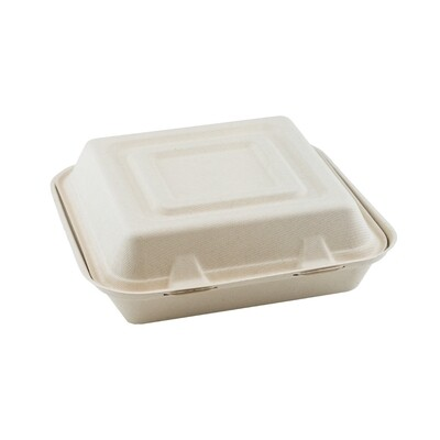 Bagasse 3-compartment menu box 25x25x8cm / 1500ml brown 3-compartment Packaged 200 pieces