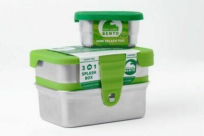Blue Water Bento RVS Lunchbox Eco Splash box 3 in 1 Lekvrij