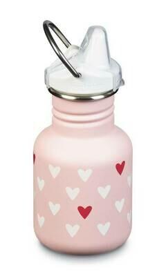 Klean Kanteen kinderdrinkflesje 12oz/ 355ml, roze met hartjes
