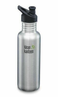 Klean Kanteen Classic drinkfles, sport cap,  27oz/800ml, geborsteld RVS